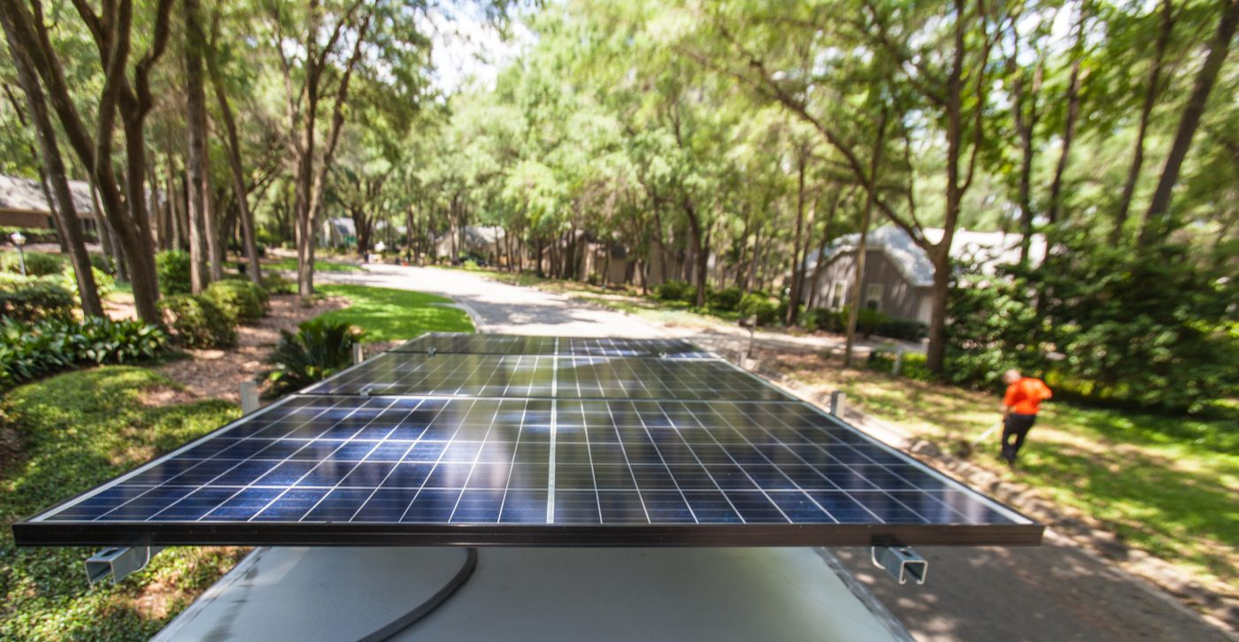 sustainable lawn care solar power