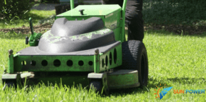 close up of SPLC electric lawn mover